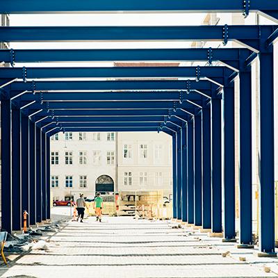 Skurby på byggeplads på Strandgade 7