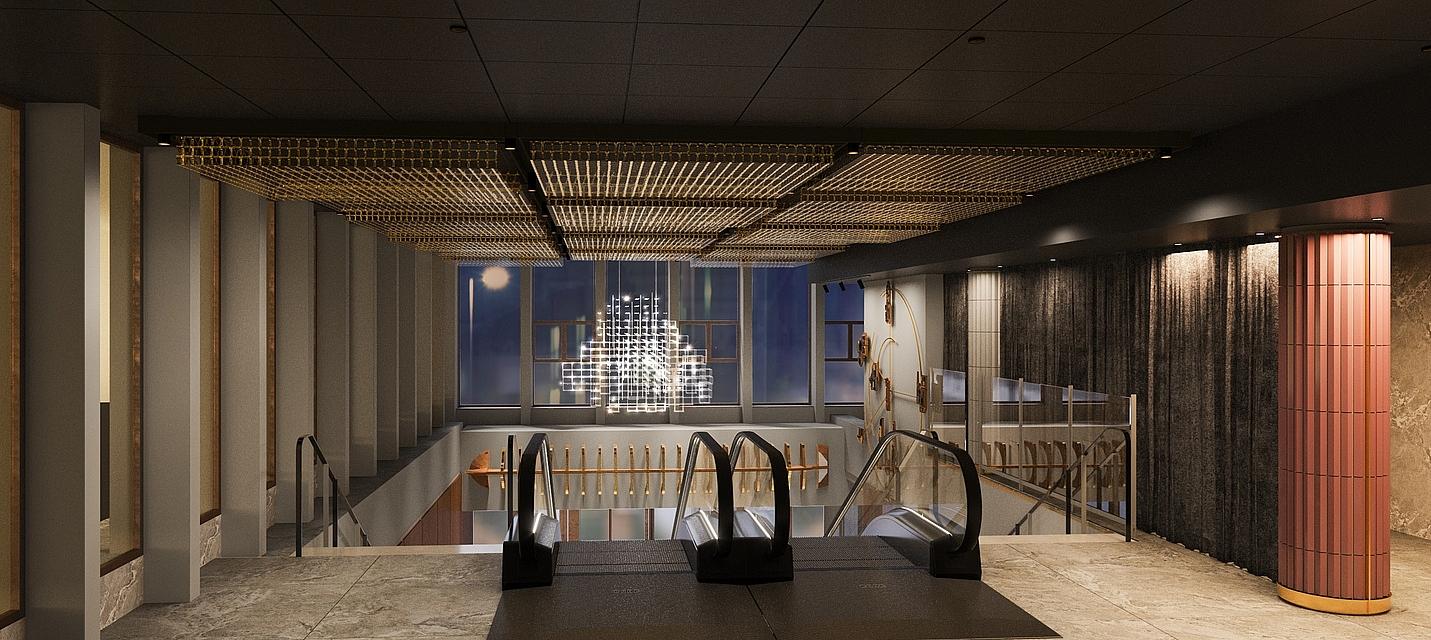 Visualisering af rulletrappe på Hotel NH Collection Copenhagen på Strandgade 7